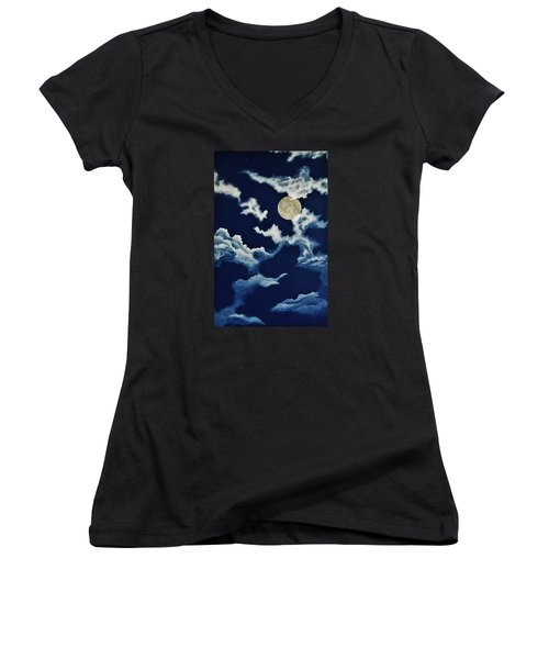 Look At The Moon Women's V-Neck T-Shirt (Junior Cut) by Katherine Young-Beck