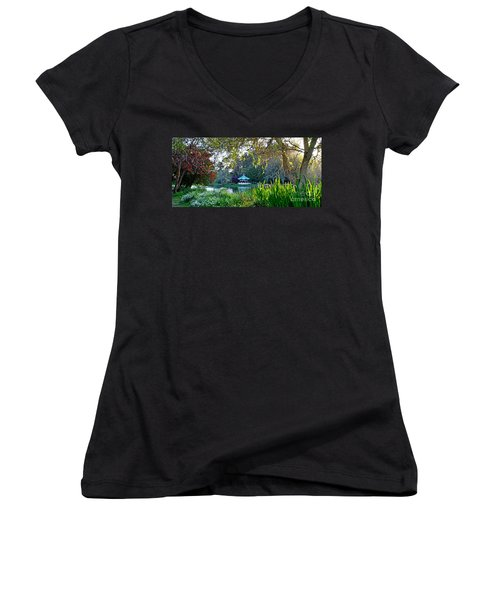Women's V-Neck T-Shirt (Junior Cut) featuring the photograph Looking Across Stow Lake At The Pagoda In Golden Gate Park by Jim Fitzpatrick