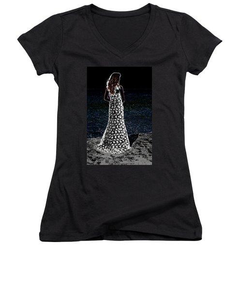 Looking Beyond  Women's V-Neck T-Shirt (Junior Cut) by Leticia Latocki