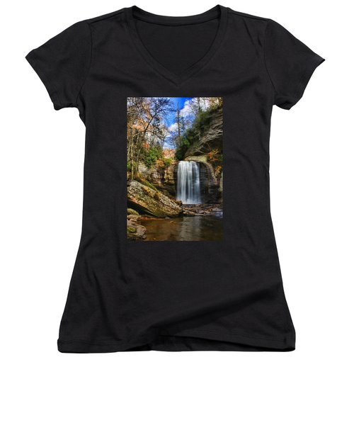 Looking Glass Falls Women's V-Neck T-Shirt