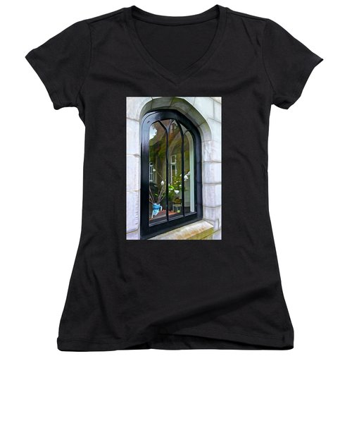 Women's V-Neck T-Shirt (Junior Cut) featuring the photograph Looking In by Charlie and Norma Brock