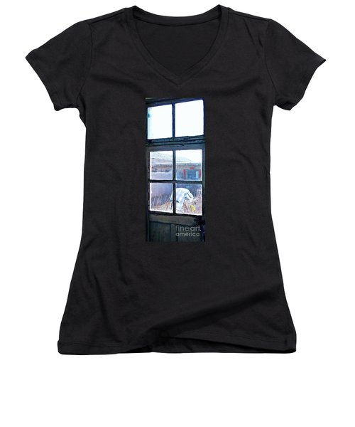 Women's V-Neck T-Shirt (Junior Cut) featuring the photograph Looking Out The Kitchen Door In February by Ethna Gillespie