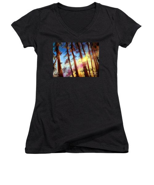 Women's V-Neck T-Shirt (Junior Cut) featuring the painting Looking Through The Trees by Alison Caltrider