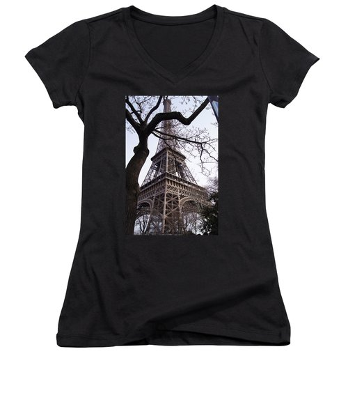 Looking Up To Eiffel  Women's V-Neck T-Shirt (Junior Cut) by Debi Demetrion