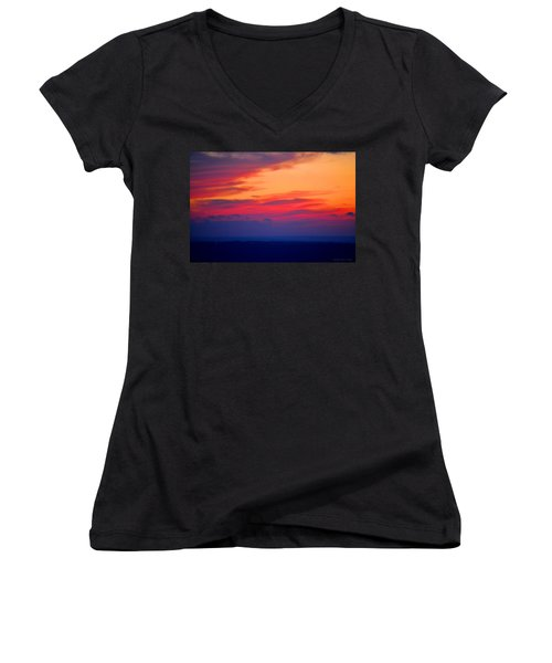 Lookout Mountain Sunset Women's V-Neck (Athletic Fit)