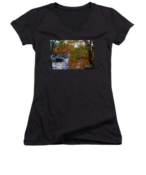Fall Foliage At Lost Maples State Natural Area  Women's V-Neck (Athletic Fit)