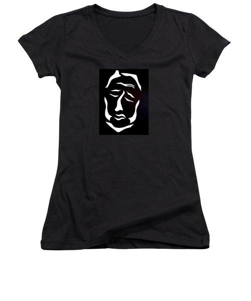 Women's V-Neck T-Shirt (Junior Cut) featuring the digital art Lost Soul by Delin Colon