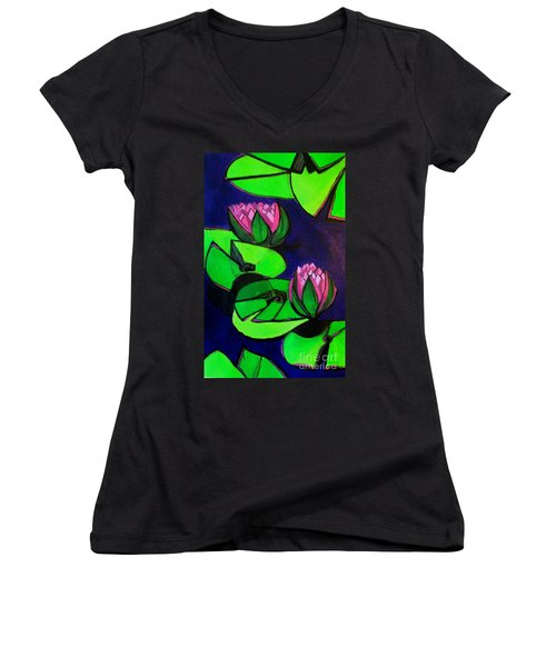 Lotus 2 Botanical Flowers Women's V-Neck (Athletic Fit)