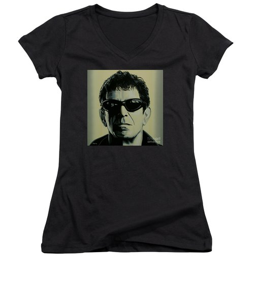 Lou Reed Painting Women's V-Neck T-Shirt (Junior Cut) by Paul Meijering
