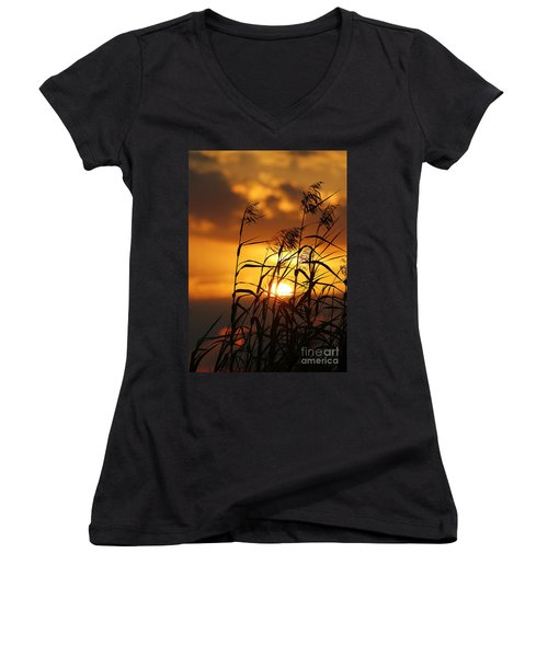 Women's V-Neck T-Shirt (Junior Cut) featuring the photograph Louisiana Marsh Sunset by Luana K Perez