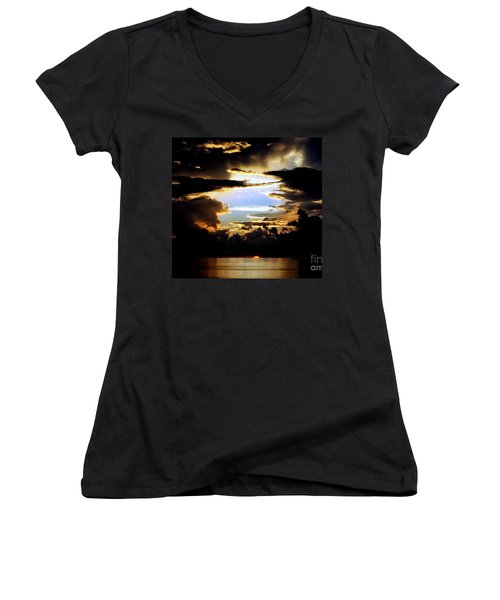 Women's V-Neck T-Shirt (Junior Cut) featuring the photograph Louisiana Sunset Blue In The Gulf  Of Mexico by Michael Hoard