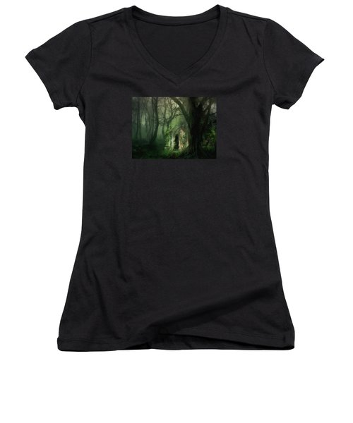 Love Affair With A Forest Women's V-Neck (Athletic Fit)