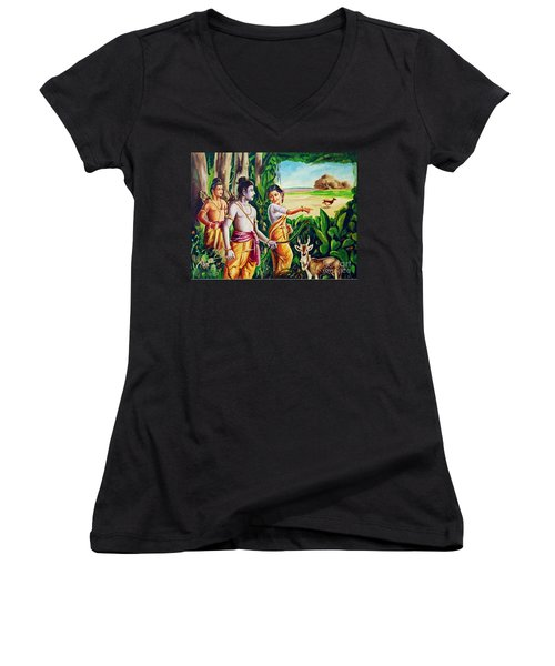 Women's V-Neck T-Shirt (Junior Cut) featuring the painting Love And Valour- Ramayana- The Divine Saga by Ragunath Venkatraman