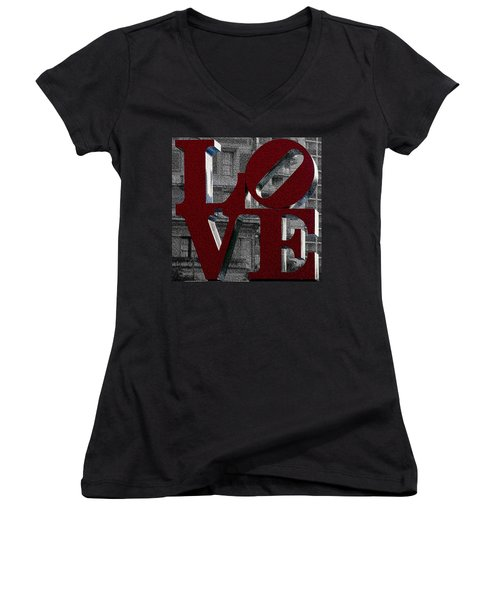Love Philadelphia Red Mosaic Women's V-Neck (Athletic Fit)
