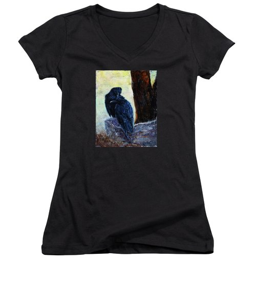 Women's V-Neck T-Shirt (Junior Cut) featuring the painting Love Season I by Xueling Zou