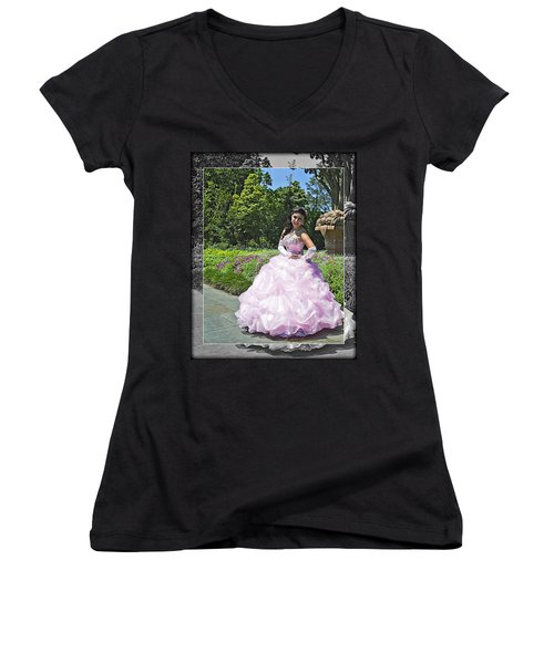 Lovely Lady At The Dallas Arboretum Women's V-Neck T-Shirt