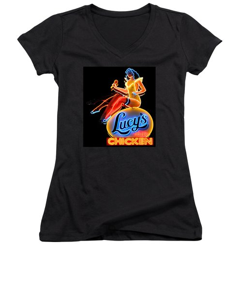 Lovely Lucy's Chicken Women's V-Neck (Athletic Fit)