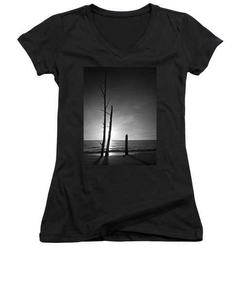 Lovers Key Sunset Black And White One Women's V-Neck (Athletic Fit)
