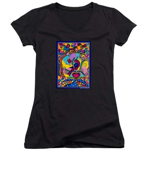 Women's V-Neck T-Shirt (Junior Cut) featuring the painting Loving The World by Lori Miller