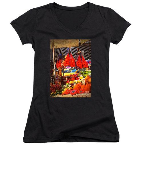 Low-hanging Fruit Women's V-Neck T-Shirt (Junior Cut) by Miriam Danar
