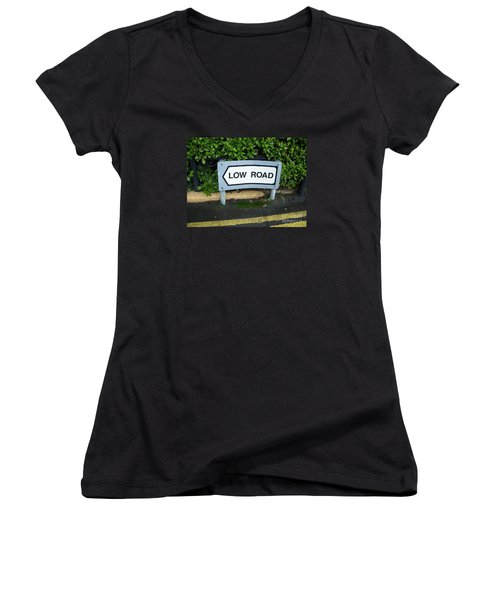 Women's V-Neck T-Shirt (Junior Cut) featuring the photograph Low Road by Marilyn Zalatan