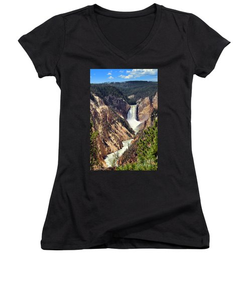 Lower Falls Of Yellowstone Women's V-Neck