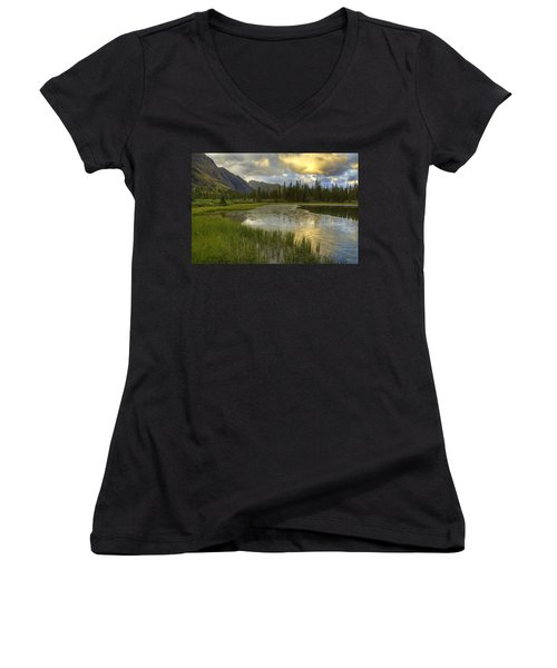 Lower Ice Lake Women's V-Neck T-Shirt (Junior Cut) by Alan Vance Ley