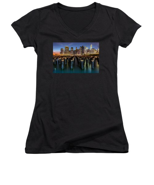 Lower Manhattan Women's V-Neck T-Shirt (Junior Cut) by Mihai Andritoiu