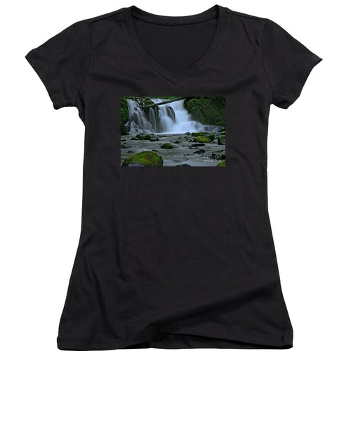 Lower Mcdowell Creek Falls Women's V-Neck T-Shirt