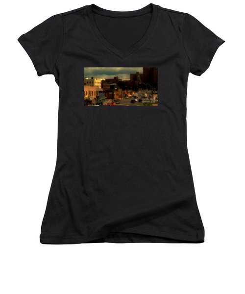 Women's V-Neck T-Shirt (Junior Cut) featuring the photograph Lowering Clouds by Miriam Danar
