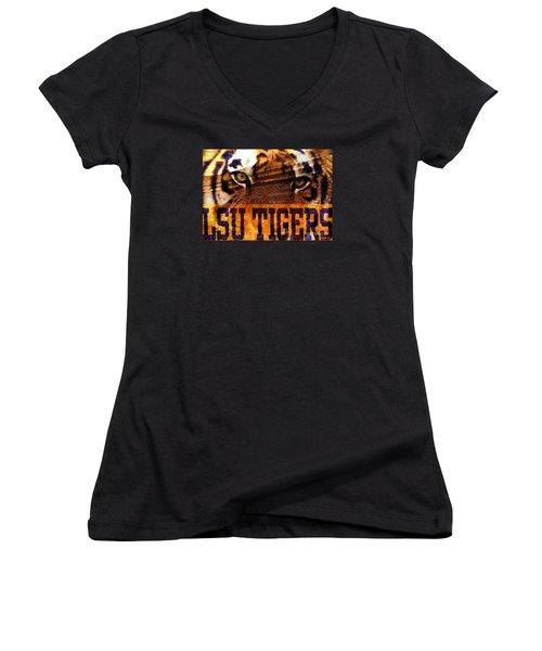 Lsu - Death Valley Women's V-Neck T-Shirt (Junior Cut) by Elizabeth McTaggart