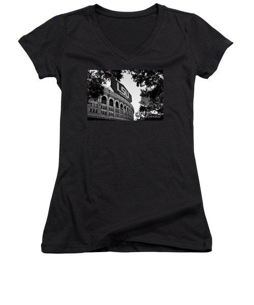 Lsu Through The Oaks Women's V-Neck T-Shirt (Junior Cut) by Scott Pellegrin