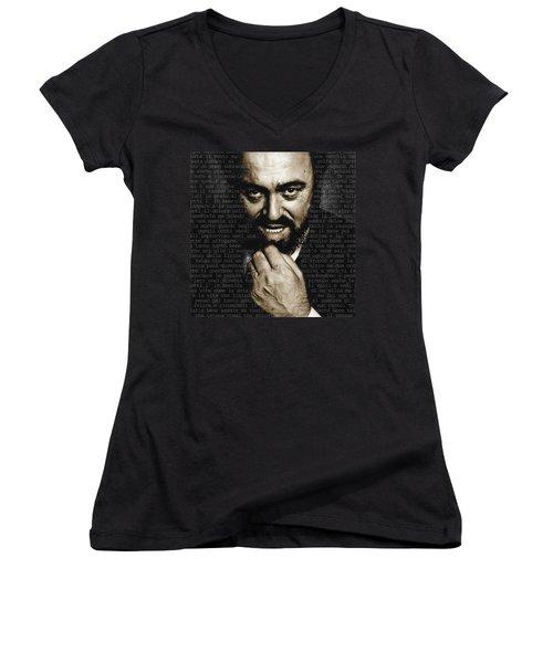 Luciano Pavarotti Women's V-Neck T-Shirt (Junior Cut) by Tony Rubino