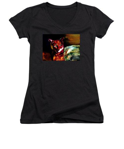 Lucifer Sam Tiger Cat Women's V-Neck T-Shirt