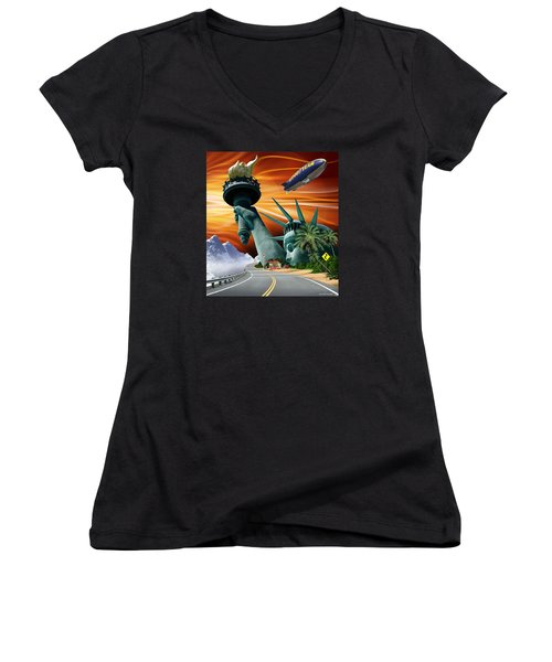 Women's V-Neck T-Shirt (Junior Cut) featuring the digital art Lucky Star by Scott Ross