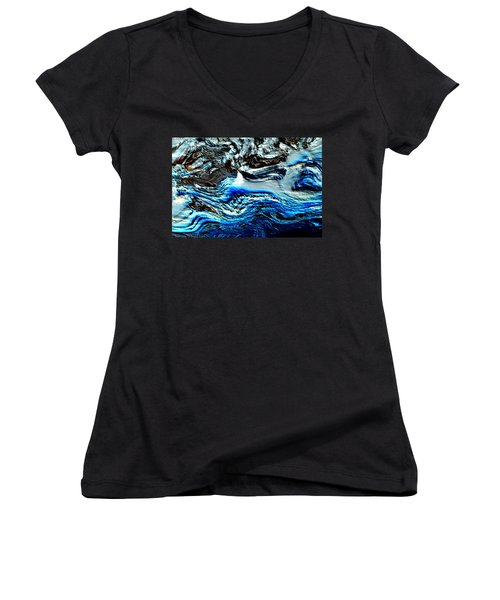 Women's V-Neck T-Shirt (Junior Cut) featuring the digital art Lumenittoral by Richard Thomas