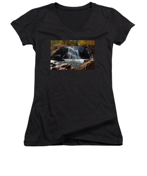 Women's V-Neck T-Shirt (Junior Cut) featuring the photograph Lundy Creek Cascades by Lynn Bauer