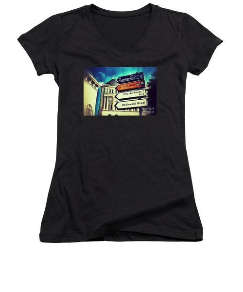 Luxembourg City Women's V-Neck T-Shirt