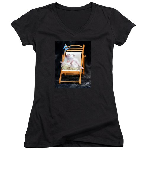 Lyla Sunbathing Women's V-Neck T-Shirt (Junior Cut) by Paul  Wilford