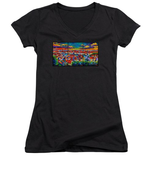Lyon Panorama Triptych Women's V-Neck T-Shirt