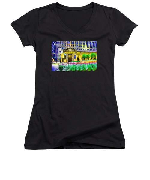 Lyric Opera House Of Chicago Women's V-Neck T-Shirt (Junior Cut) by Ely Arsha
