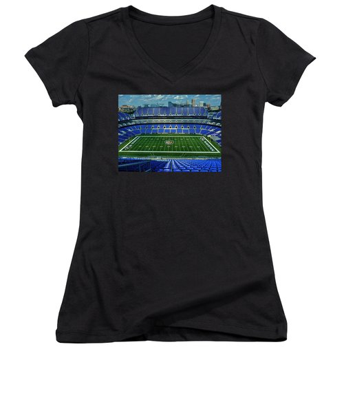 M And T Bank Stadium Women's V-Neck T-Shirt (Junior Cut) by Robert Geary
