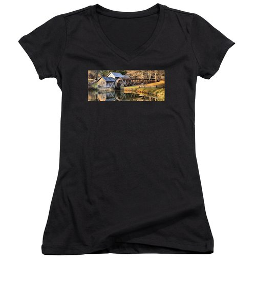 Mabry Grist Mill Fall Panorama Women's V-Neck