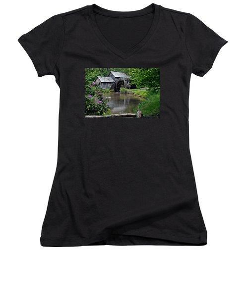 Mabry Mill In May Women's V-Neck T-Shirt (Junior Cut) by John Haldane