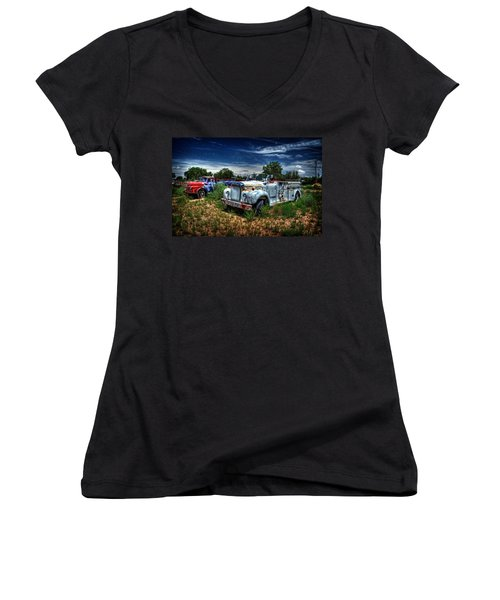 Women's V-Neck T-Shirt (Junior Cut) featuring the photograph Mack Fire Truck And Graffiti Fire Truck by Ken Smith