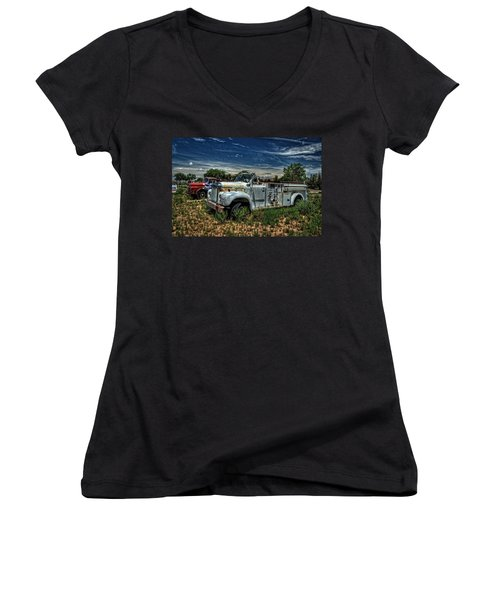 Women's V-Neck T-Shirt (Junior Cut) featuring the photograph Mack Fire Truck by Ken Smith