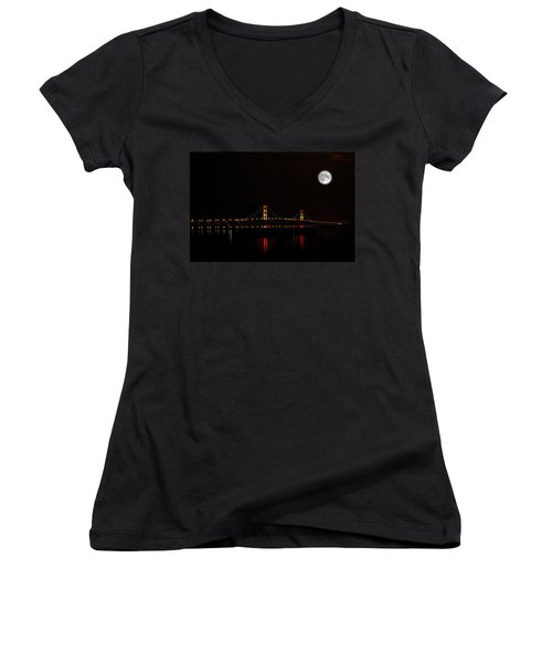 Mackinac Bridge And Moon Women's V-Neck T-Shirt