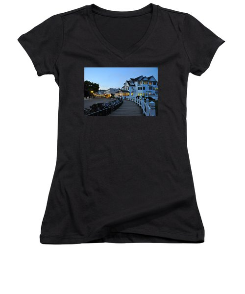 Mackinac Island At Dusk Women's V-Neck