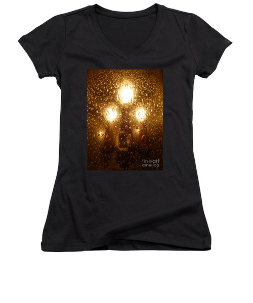 Macro Lights Women's V-Neck T-Shirt (Junior Cut) by Joseph Baril