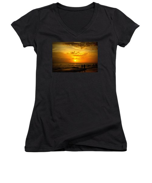 Women's V-Neck T-Shirt (Junior Cut) featuring the photograph Madeira Sunset by Laurie Perry